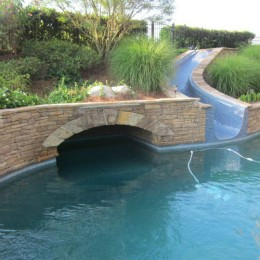 Excellent coping and masonry work at this grotto pool -- Alpharetta, GA