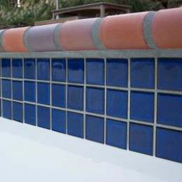 Royal 2 x 2 waterline tile with 'Autumn Leaves' brick coping -- Tucker, GA